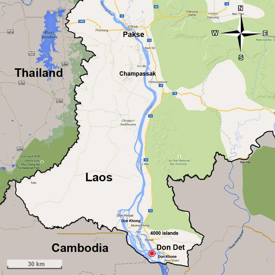 Don Det + Pakse map (click to enlarge)